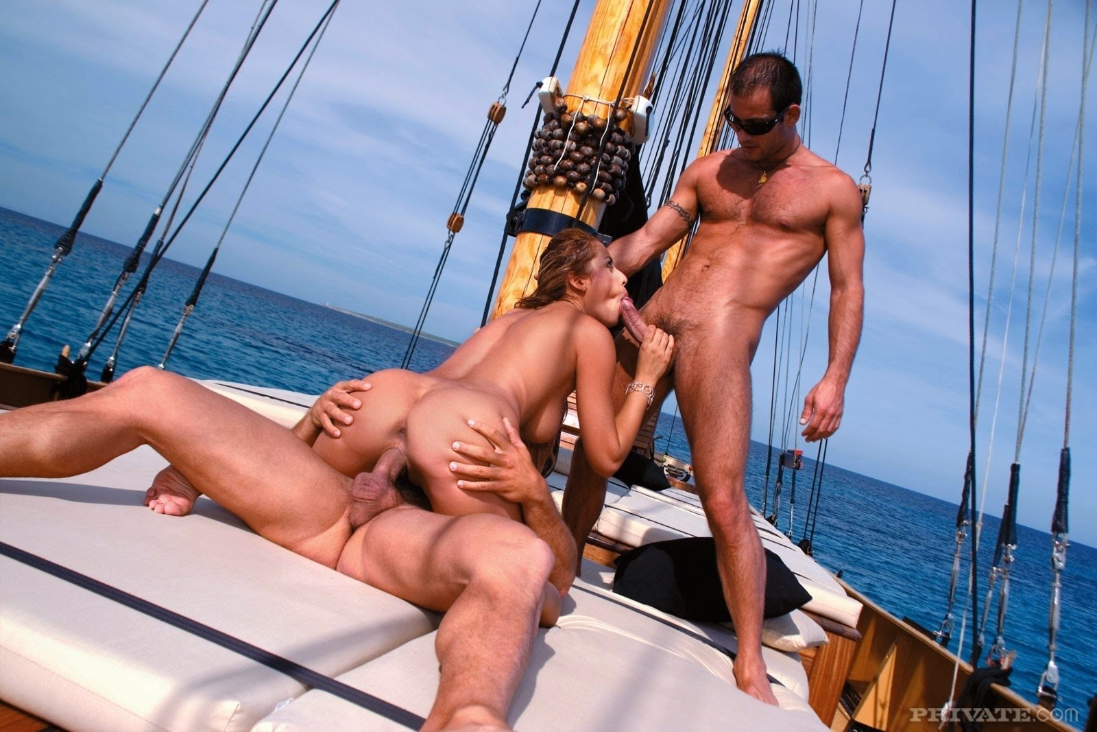 Girl fucked by two guys on boat